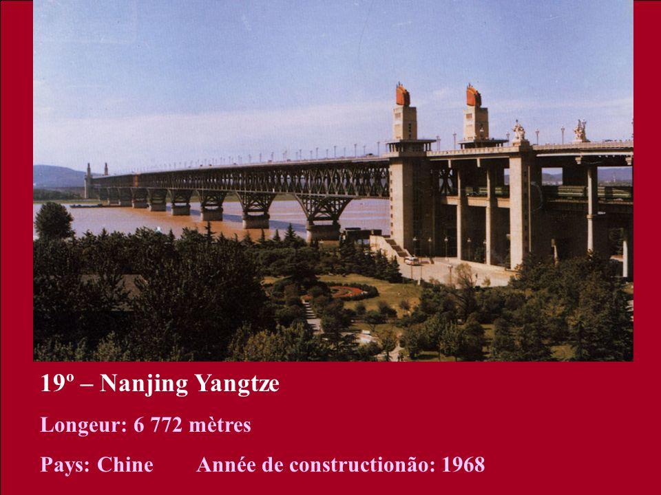 19º – Nanjing Yangtze Longeur: 6 772 mètres Pays: Chine Année de constructionão: 1968