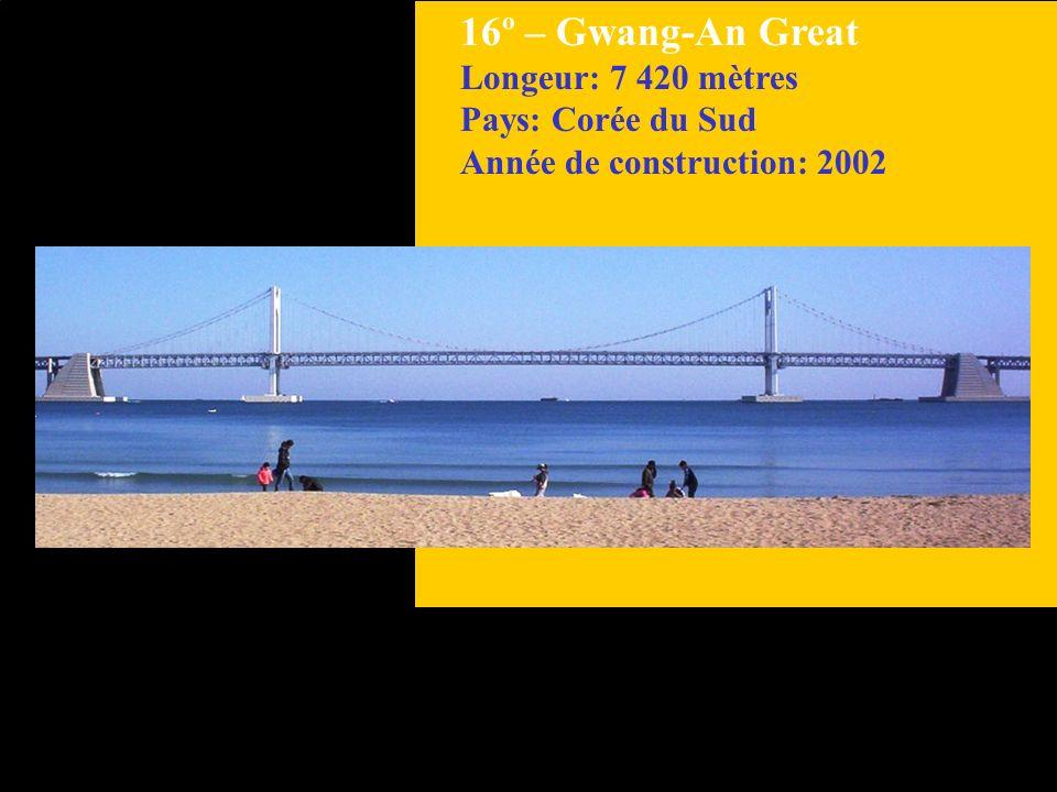 17º– Huey P. Long Longeur: 7 000 mètres Pays: États Unis Année de construction: 1936