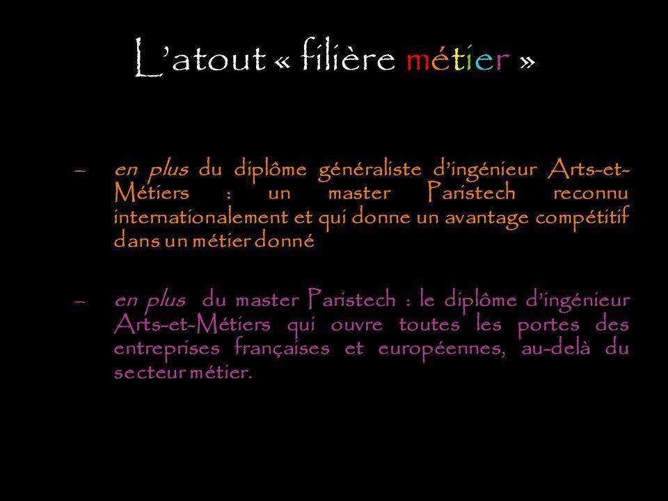 Latout « filière métier » –en plus du diplôme généraliste dingénieur Arts-et- Métiers : un master Paristech reconnu internationalement et qui donne un