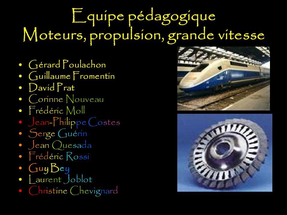 Equipe pédagogique Moteurs, propulsion, grande vitesse Gérard Poulachon Guillaume Fromentin David Prat Corinne Nouveau Frédéric Moll Jean-Philippe Cos