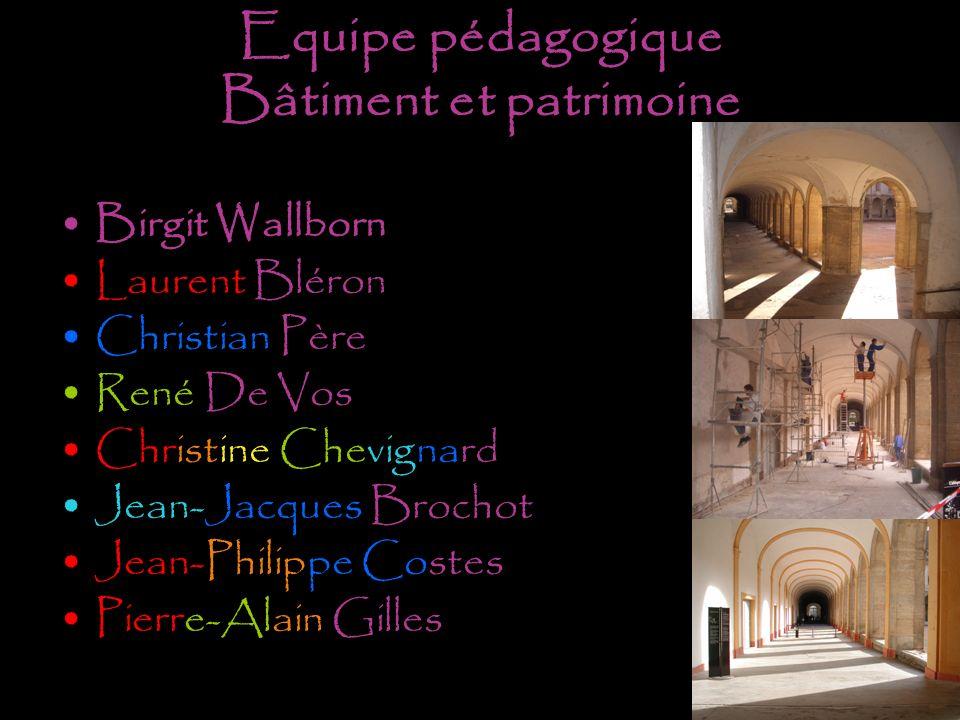 Equipe pédagogique Bâtiment et patrimoine Birgit Wallborn Laurent Bléron Christian Père René De Vos Christine Chevignard Jean-Jacques Brochot Jean-Phi