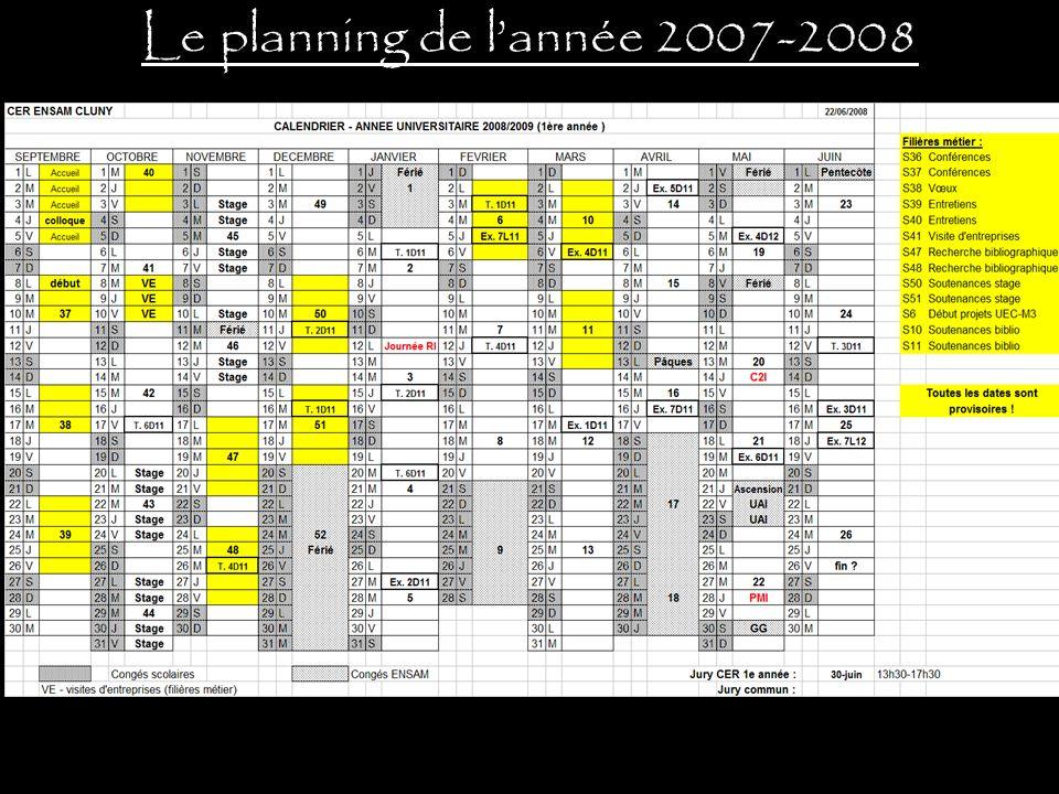 Le planning de lannée 2007-2008