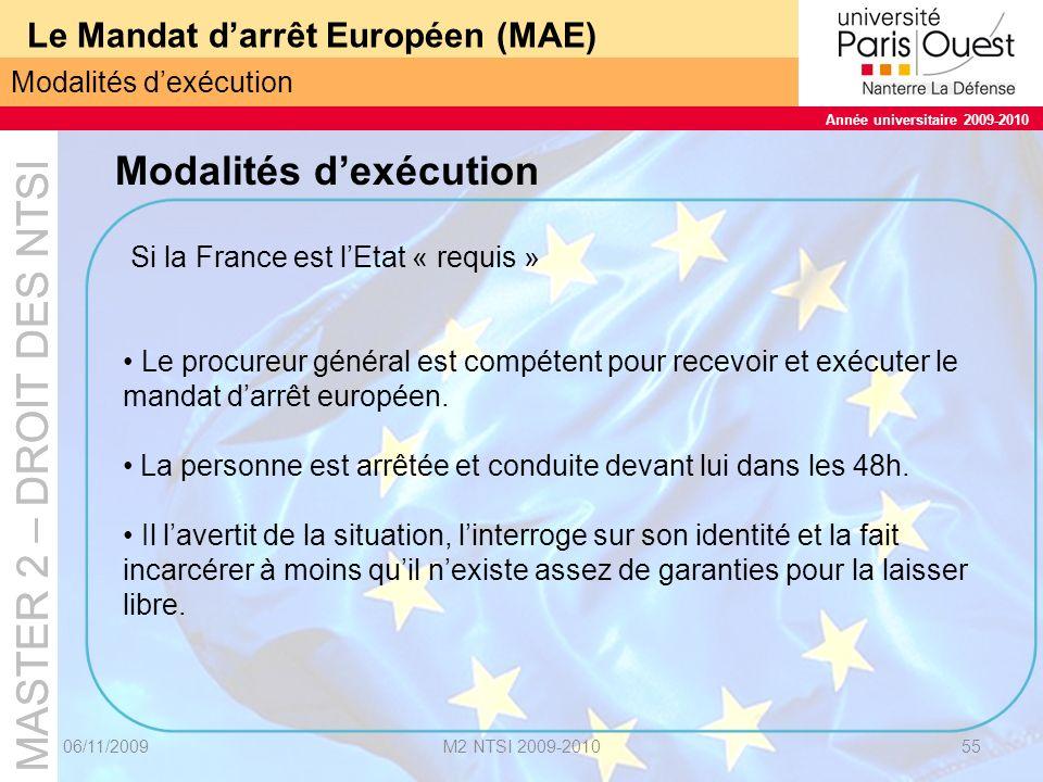 MASTER 2 – DROIT DES NTSI Année universitaire 2009-2010 MASTER 2 – DROIT DES NTSI Année universitaire 2009-2010 Le Mandat darrêt Européen (MAE) 06/11/2009M2 NTSI 2009-201056 IV.