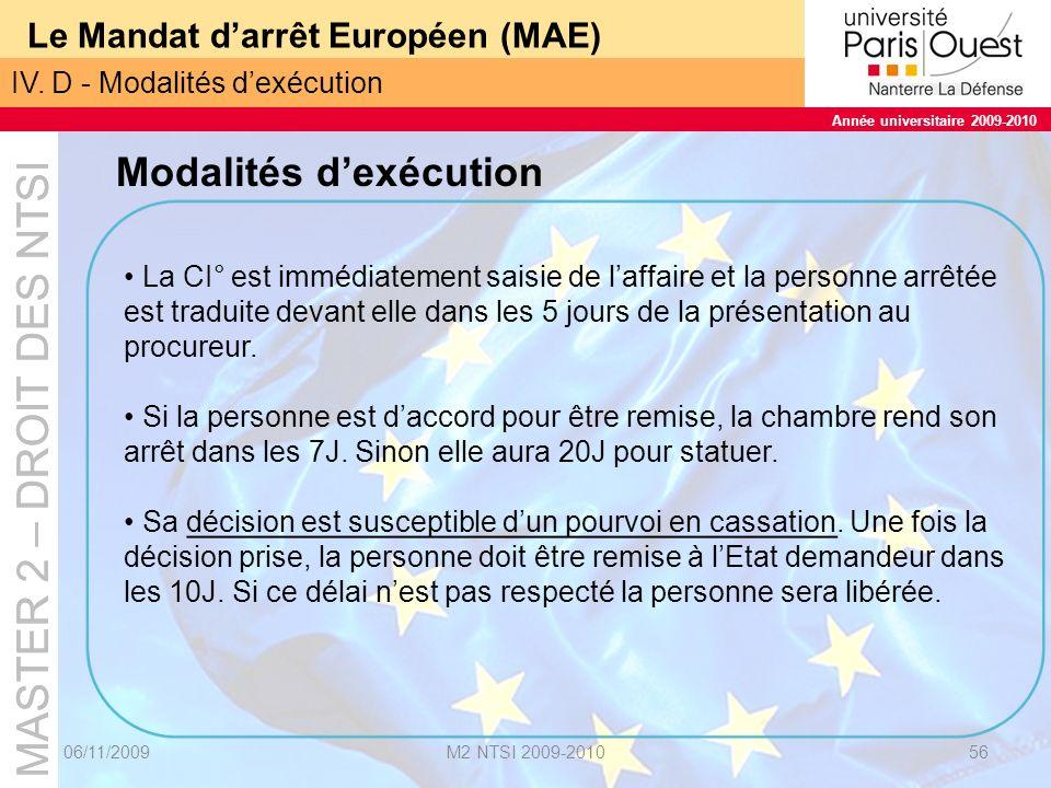 MASTER 2 – DROIT DES NTSI Année universitaire 2009-2010 MASTER 2 – DROIT DES NTSI Année universitaire 2009-2010 Le Mandat darrêt Européen (MAE) 06/11/2009M2 NTSI 2009-201057 IV.