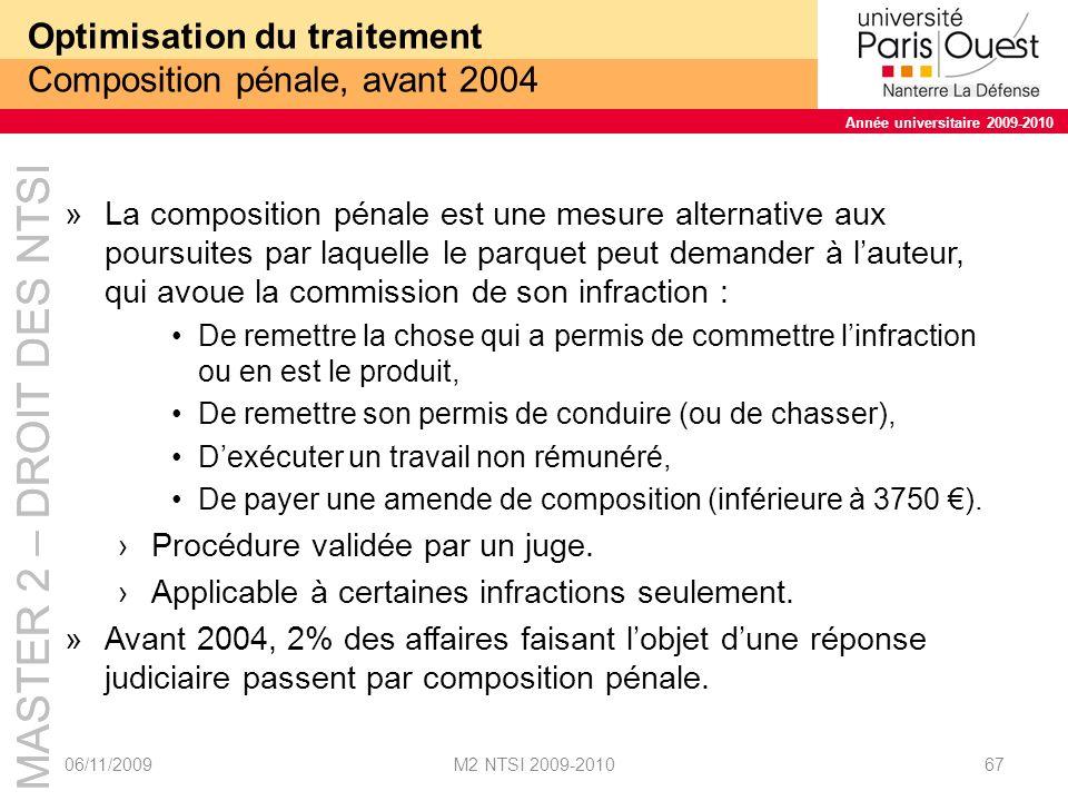 MASTER 2 – DROIT DES NTSI Année universitaire 2009-2010 MASTER 2 – DROIT DES NTSI Année universitaire 2009-2010 Optimisation du traitement Composition pénale, après 2004 »La loi « Perben II » Étend le domaine de la composition à tous les délits de moins 5 ans.