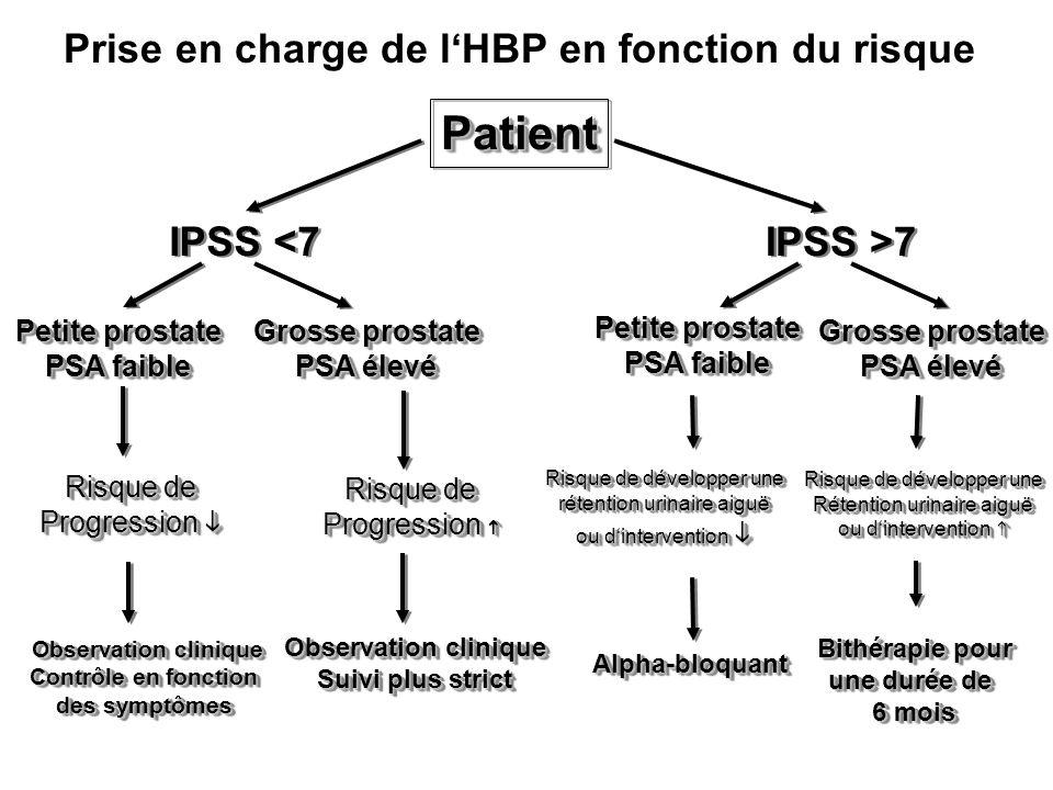 Prise en charge de lHBP en fonction du risque PatientPatient Petite prostate PSA faible Petite prostate PSA faible Observation clinique Observation cl