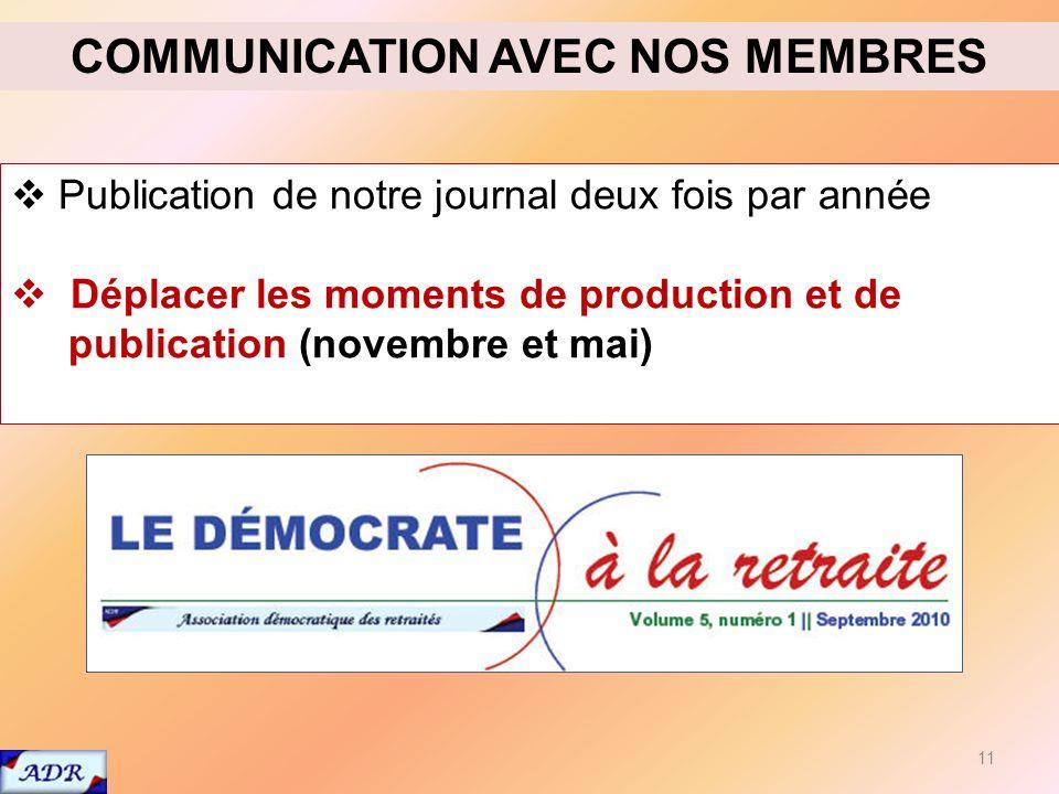 11 Publication de notre journal deux fois par année Déplacer les moments de production et de publication (novembre et mai) COMMUNICATION AVEC NOS MEMBRES