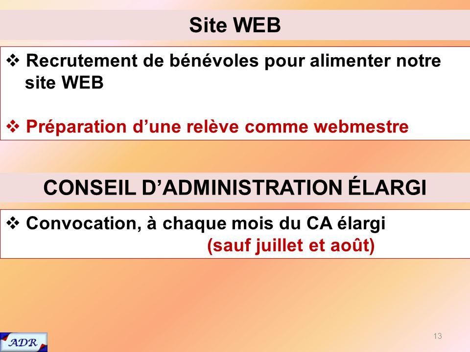 13 Recrutement de bénévoles pour alimenter notre site WEB Préparation dune relève comme webmestre Site WEB Convocation, à chaque mois du CA élargi (sauf juillet et août) CONSEIL DADMINISTRATION ÉLARGI
