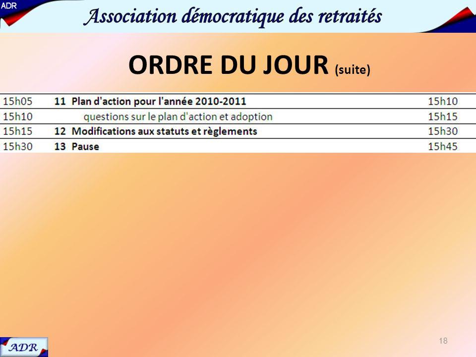 12 Statuts et règlements 18 ORDRE DU JOUR (suite)