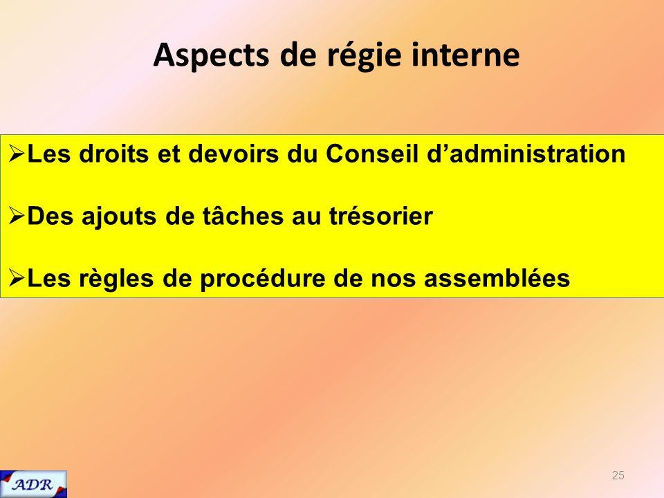 25 Les droits et devoirs du Conseil dadministration Des ajouts de tâches au trésorier Les règles de procédure de nos assemblées Aspects de régie interne