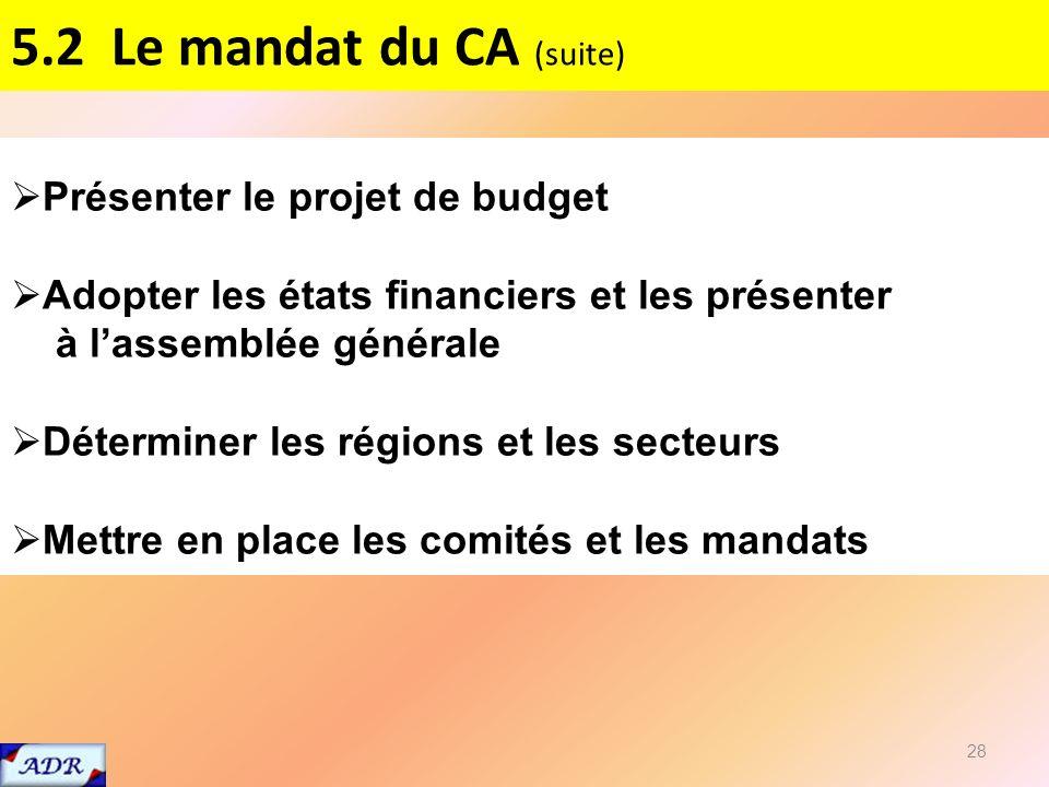 5.2 Le mandat du CA (suite) 28 Présenter le projet de budget Adopter les états financiers et les présenter à lassemblée générale Déterminer les régions et les secteurs Mettre en place les comités et les mandats