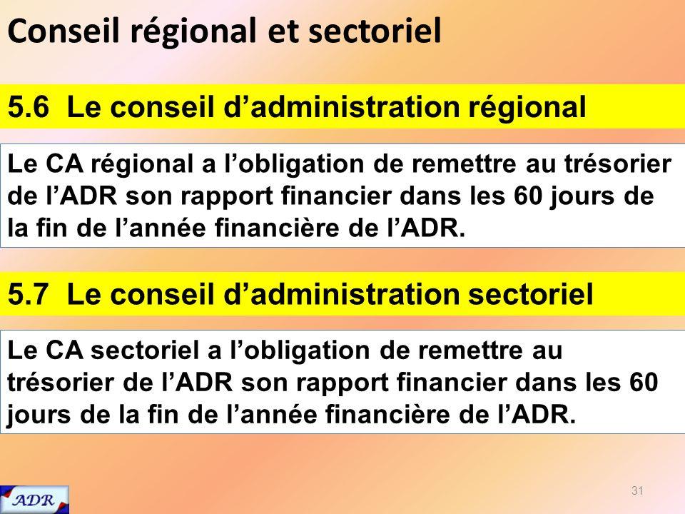 Conseil régional et sectoriel 31 5.6 Le conseil dadministration régional Le CA régional a lobligation de remettre au trésorier de lADR son rapport financier dans les 60 jours de la fin de lannée financière de lADR.