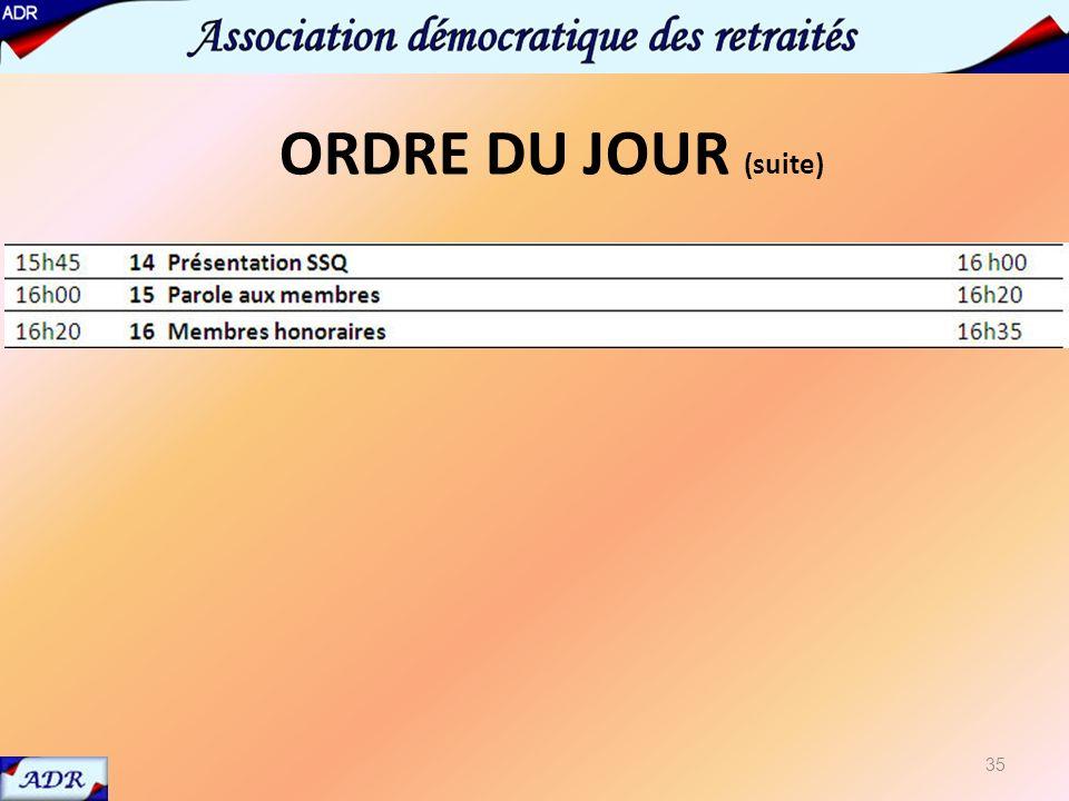 14 présentation SSQ 35 ORDRE DU JOUR (suite)