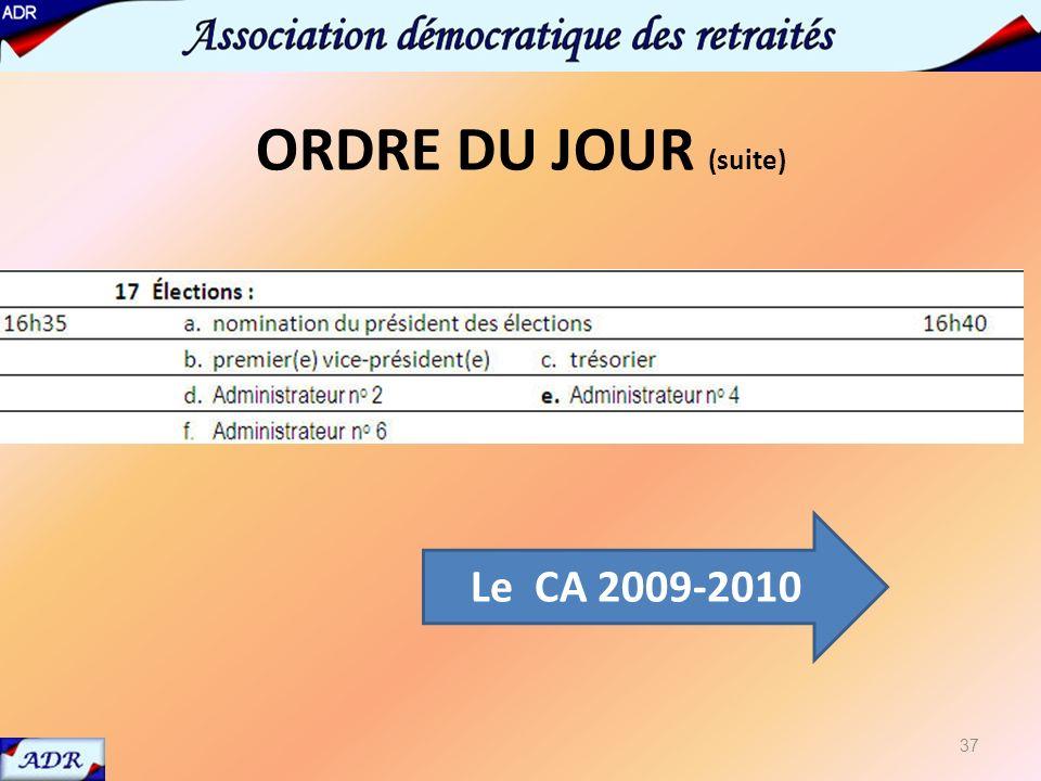 17 élections présentation CA 2009-2010 37 Le CA 2009-2010 ORDRE DU JOUR (suite)