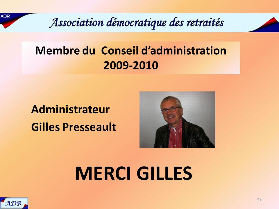 Membre du conseil dadministration 2009-2010 Administrateur Gilles Presseault MERCI GILLES Membre du Conseil dadministration 2009-2010 46