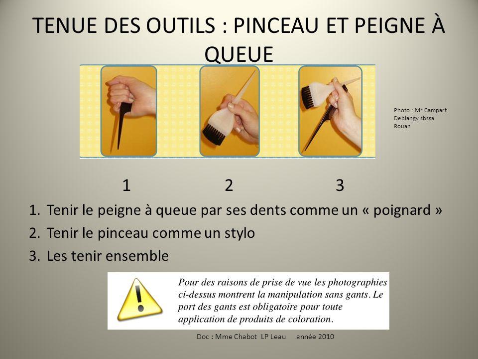 TENUE DES OUTILS : PINCEAU ET PEIGNE À QUEUE 1 2 3 1.Tenir le peigne à queue par ses dents comme un « poignard » 2.Tenir le pinceau comme un stylo 3.L