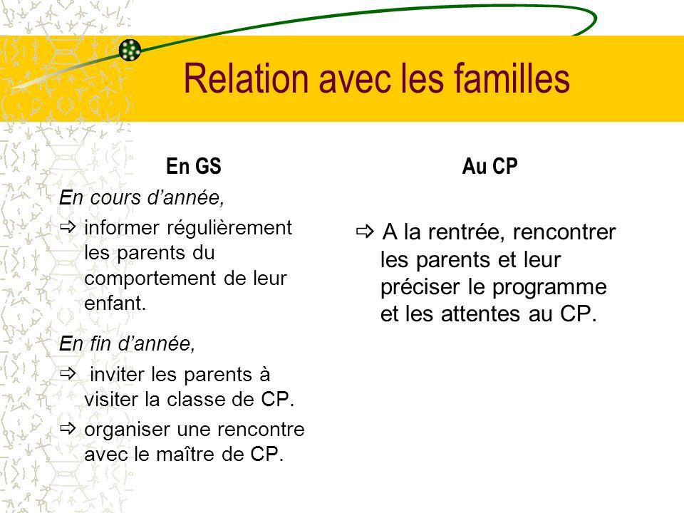 Relation avec les familles En GS En cours dannée, informer régulièrement les parents du comportement de leur enfant. En fin dannée, inviter les parent