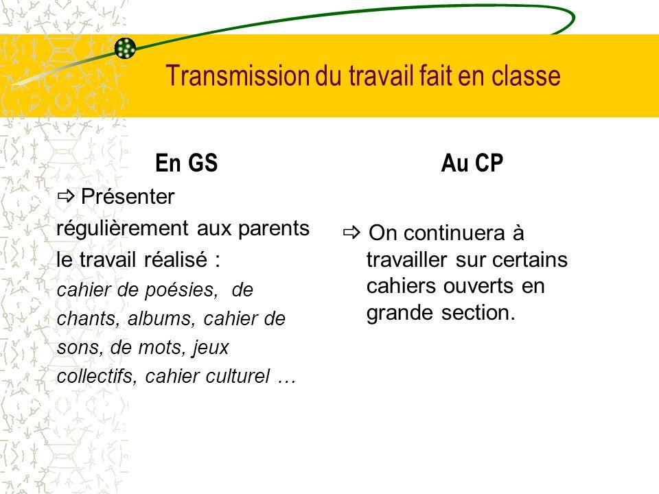 Transmission du travail fait en classe En GS Présenter régulièrement aux parents le travail réalisé : cahier de poésies, de chants, albums, cahier de
