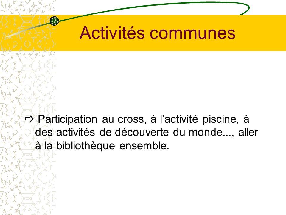 Activités communes Participation au cross, à lactivité piscine, à des activités de découverte du monde..., aller à la bibliothèque ensemble.