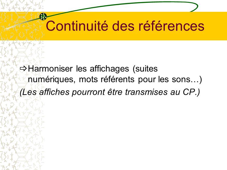 Continuité des références Harmoniser les affichages (suites numériques, mots référents pour les sons…) (Les affiches pourront être transmises au CP.)