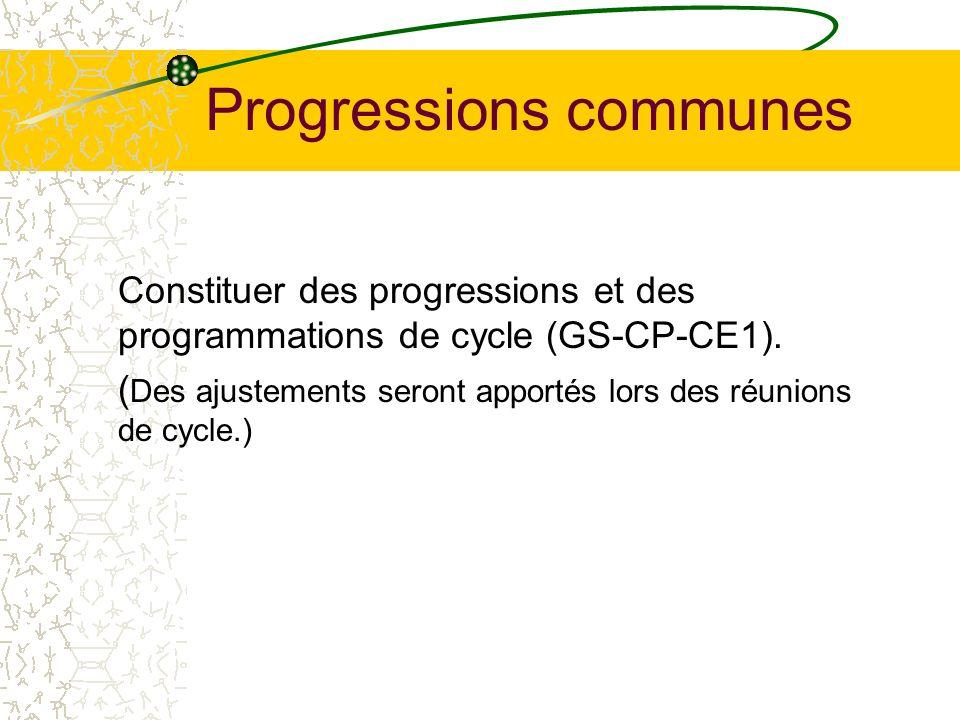 Progressions communes Constituer des progressions et des programmations de cycle (GS-CP-CE1). ( Des ajustements seront apportés lors des réunions de c