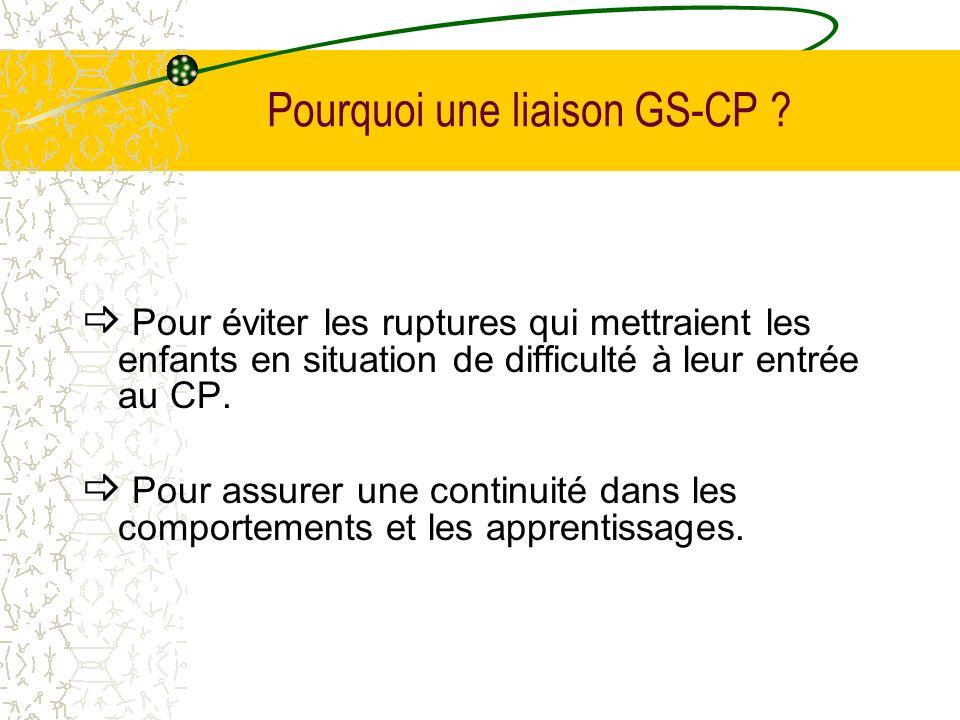 Pourquoi une liaison GS-CP ? Pour éviter les ruptures qui mettraient les enfants en situation de difficulté à leur entrée au CP. Pour assurer une cont