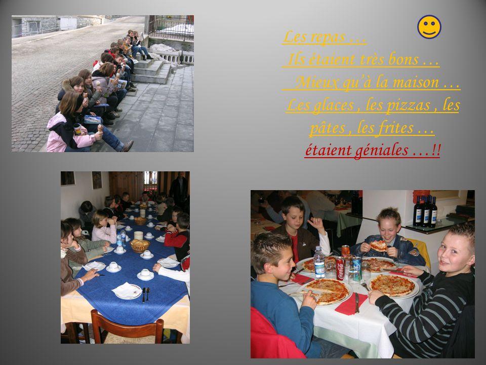 Les repas … Ils étaient très bons … Mieux quà la maison … Les glaces, les pizzas, les pâtes, les frites … étaient géniales …!!