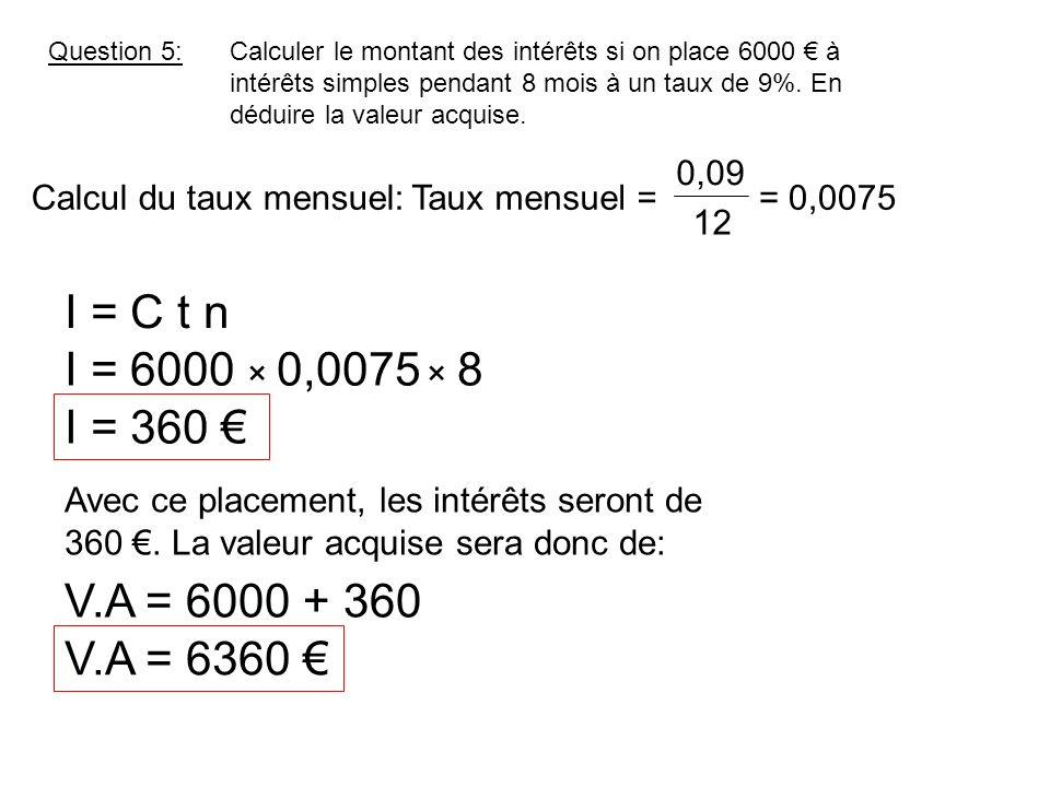Question 5:Calculer le montant des intérêts si on place 6000 à intérêts simples pendant 8 mois à un taux de 9%. En déduire la valeur acquise. I = C t