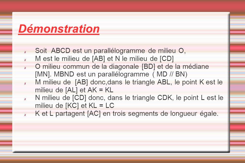 Soit ABCD est un parallélogramme de milieu O, M est le milieu de [AB] et N le milieu de [CD] O milieu commun de la diagonale [BD] et de la médiane [MN].
