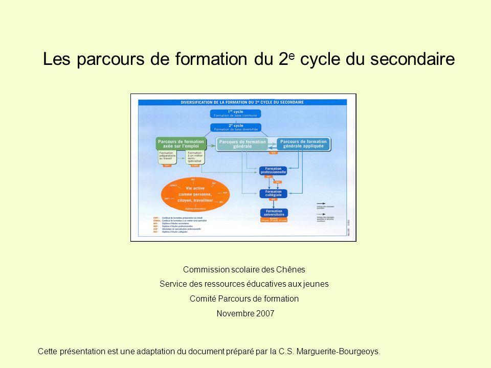 Les parcours de formation du 2 e cycle du secondaire Commission scolaire des Chênes Service des ressources éducatives aux jeunes Comité Parcours de fo