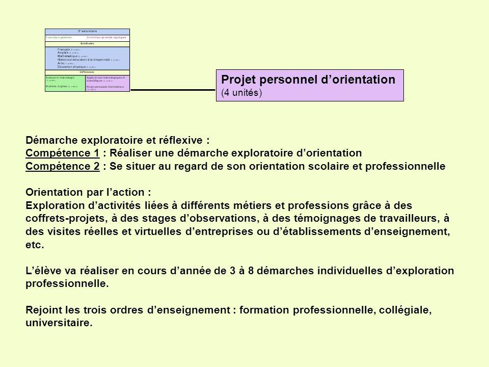 Projet personnel dorientation (4 unités) Démarche exploratoire et réflexive : Compétence 1 : Réaliser une démarche exploratoire dorientation Compétenc