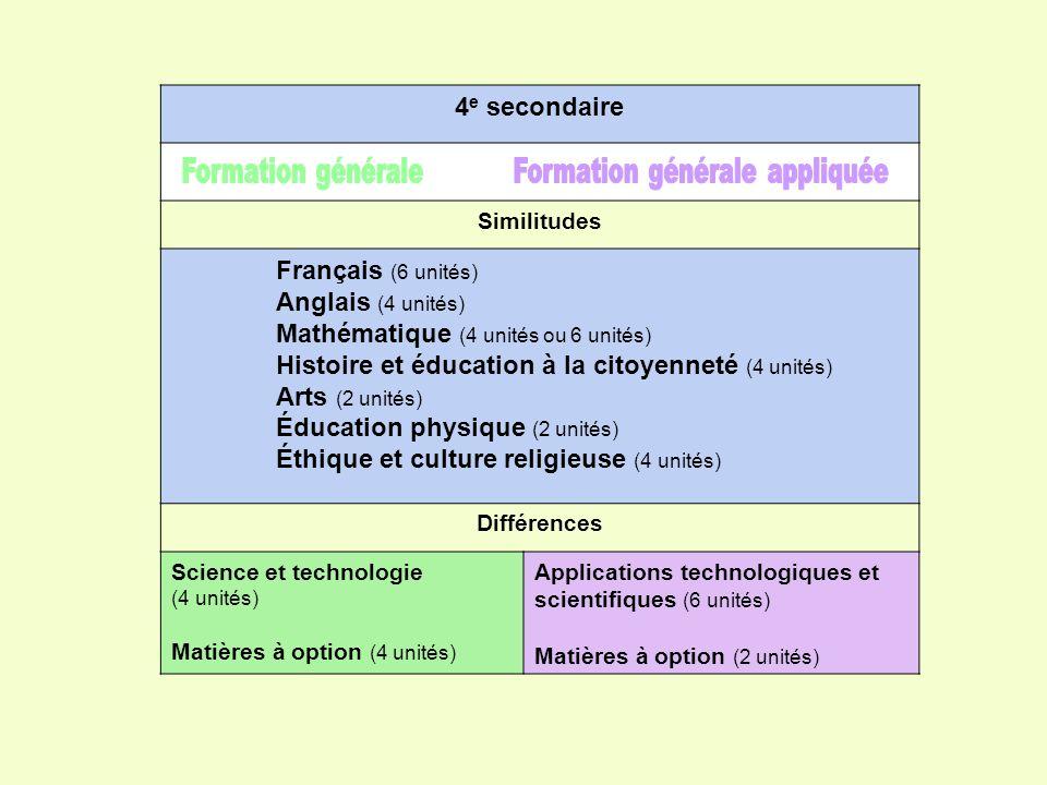 4 e secondaire Similitudes Français (6 unités) Anglais (4 unités) Mathématique (4 unités ou 6 unités) Histoire et éducation à la citoyenneté (4 unités