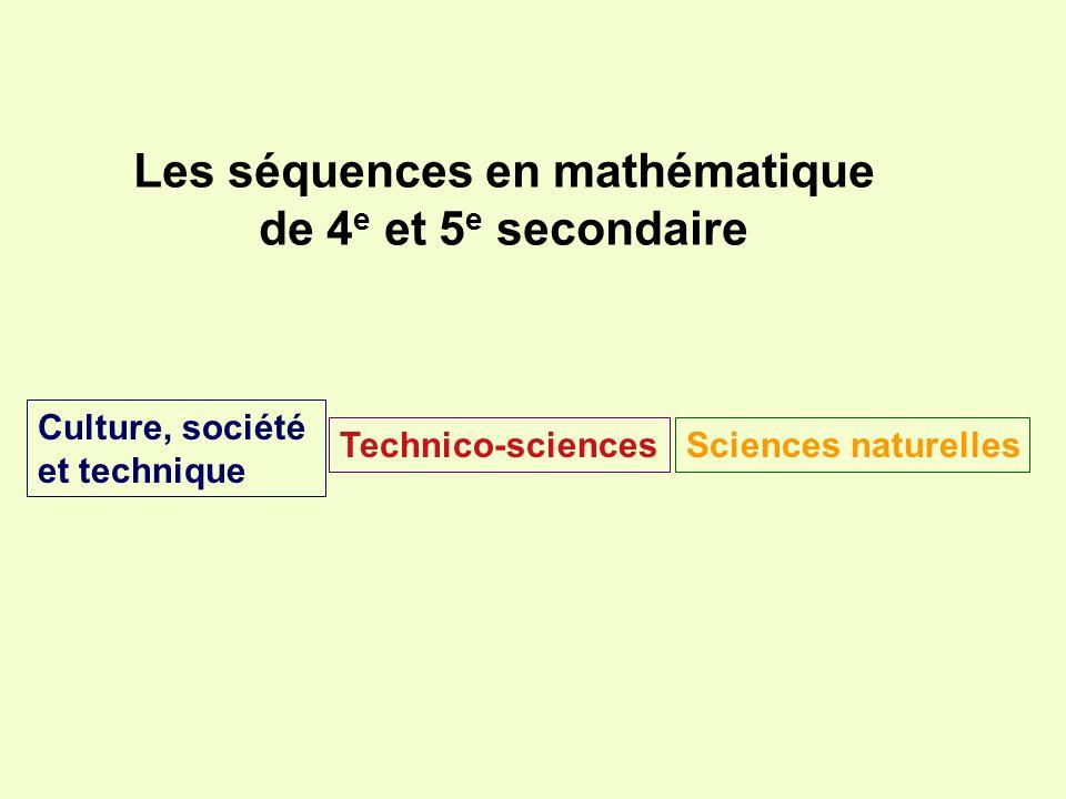 Les séquences en mathématique de 4 e et 5 e secondaire Technico-sciencesSciences naturelles Culture, société et technique