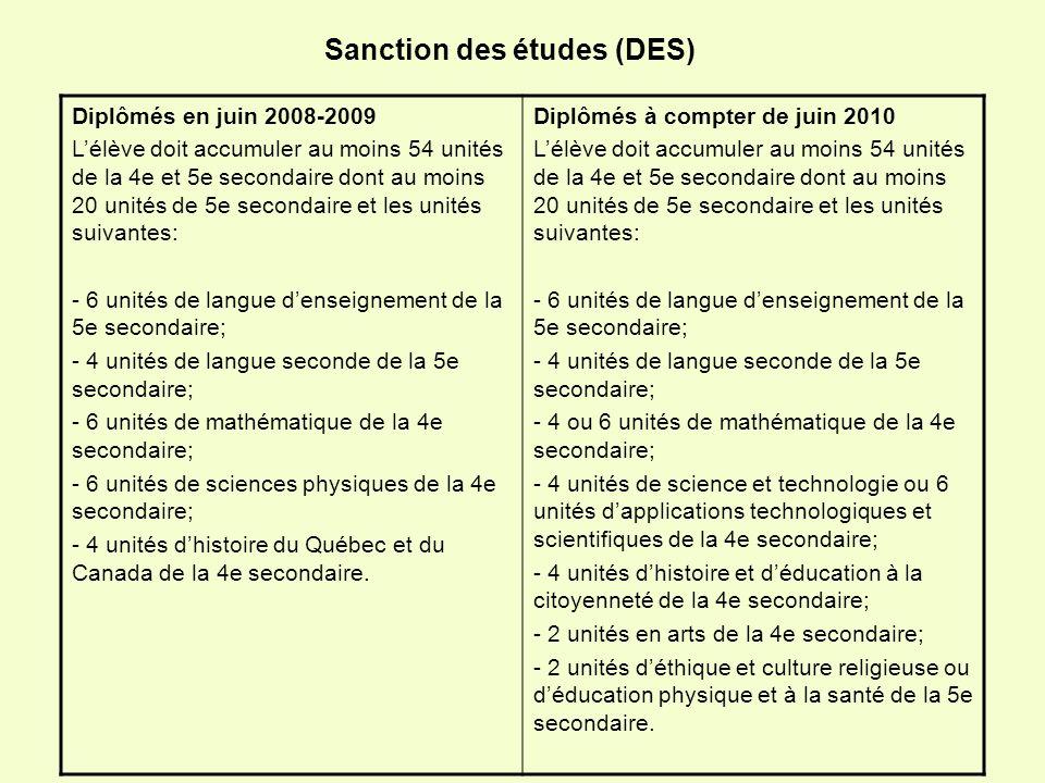 Sanction des études (DES) Diplômés en juin 2008-2009 Lélève doit accumuler au moins 54 unités de la 4e et 5e secondaire dont au moins 20 unités de 5e