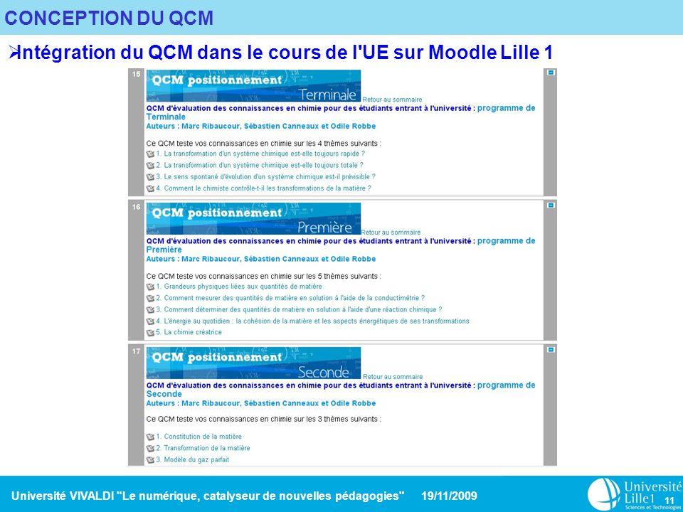 Université VIVALDI Le numérique, catalyseur de nouvelles pédagogies 19/11/2009 11 CONCEPTION DU QCM Intégration du QCM dans le cours de l UE sur Moodle Lille 1