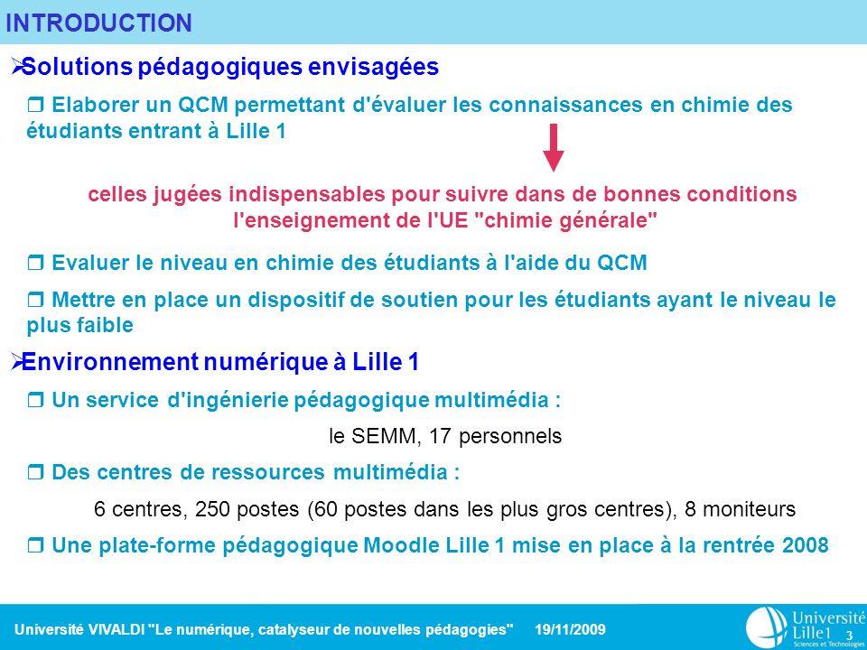 Université VIVALDI Le numérique, catalyseur de nouvelles pédagogies 19/11/2009 14 AVANTAGES ET INCONVENIENTS DE L OUTIL TEST DE MOODLE Avantages Classement des questions en catégories