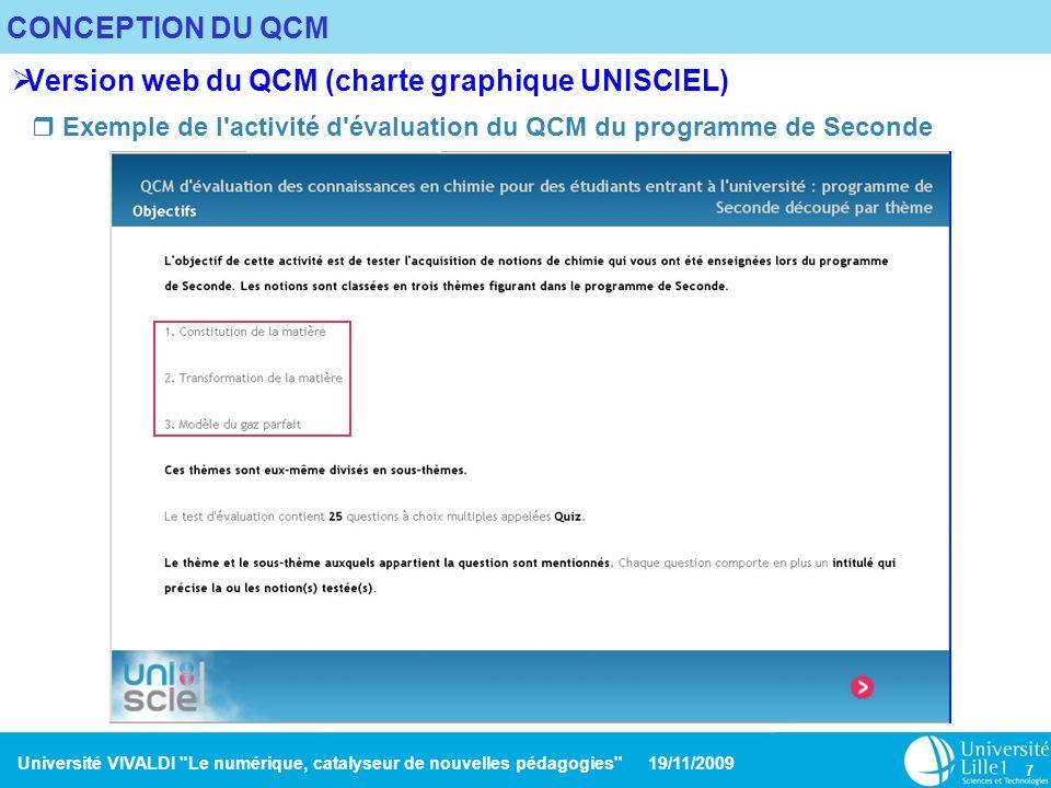 Université VIVALDI Le numérique, catalyseur de nouvelles pédagogies 19/11/2009 8 CONCEPTION DU QCM Version web (charte graphique UNISCIEL) Exemple de question et de son résultat Exemple de résultat de l un des thèmes