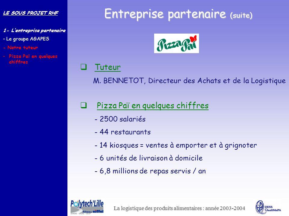 La logistique des produits alimentaires : année 2003-2004 Tuteur M. BENNETOT, Directeur des Achats et de la Logistique Entreprise partenaire (suite) P
