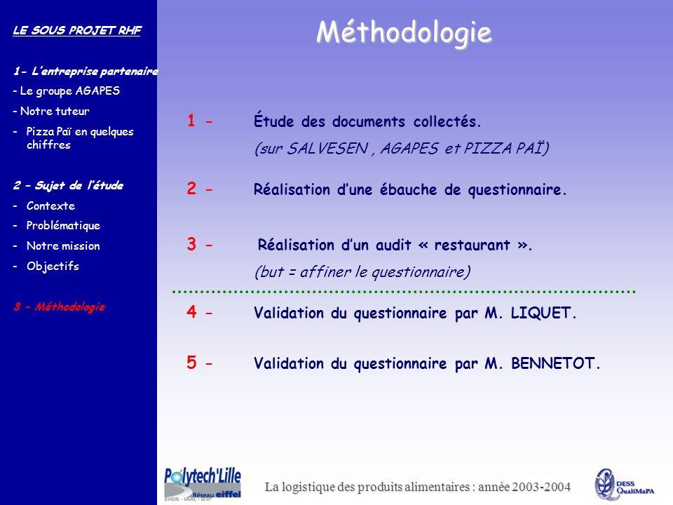 La logistique des produits alimentaires : année 2003-2004 Méthodologie 1 - Étude des documents collectés. (sur SALVESEN, AGAPES et PIZZA PAÏ) 2 - Réal