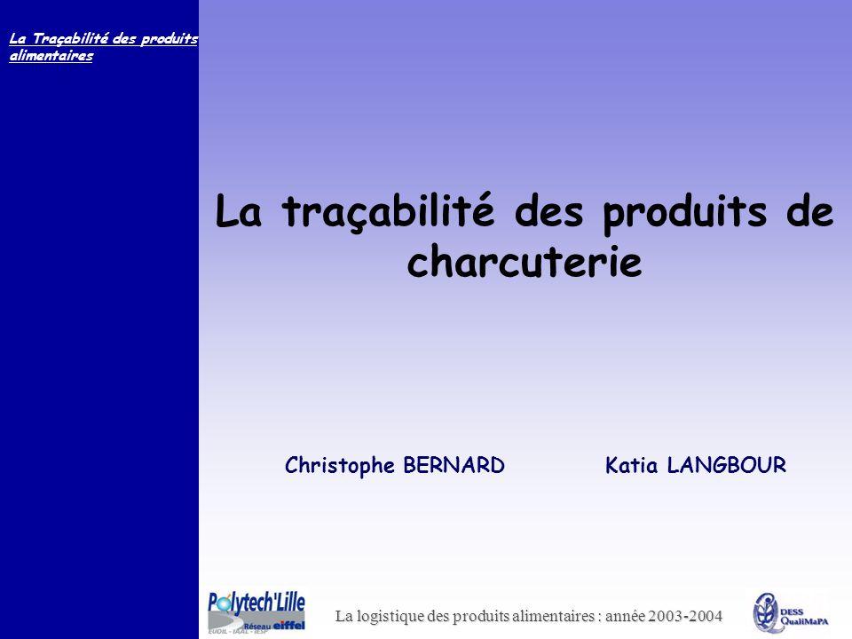 La logistique des produits alimentaires : année 2003-2004 La Traçabilité des produits alimentaires La traçabilité des produits de charcuterie Christop