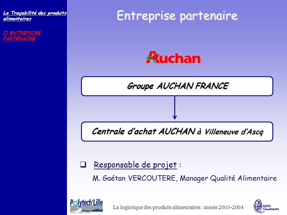 La logistique des produits alimentaires : année 2003-2004 Entreprise partenaire Responsable de projet : M. Gaétan VERCOUTERE, Manager Qualité Alimenta