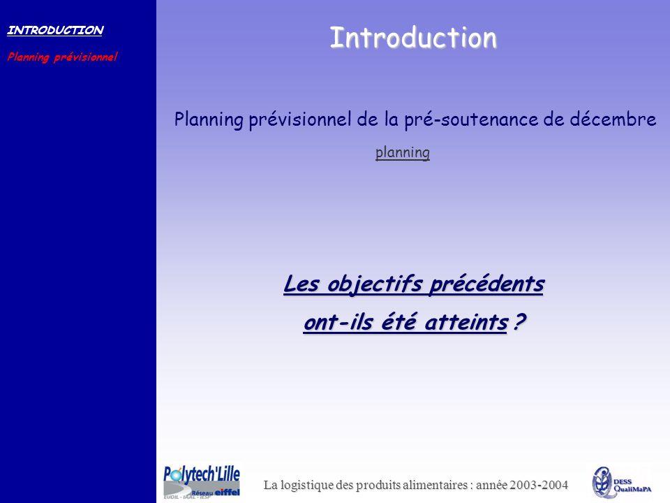 La logistique des produits alimentaires : année 2003-2004 Introduction INTRODUCTION Planning prévisionnel Les objectifs précédents ont-ils été atteint