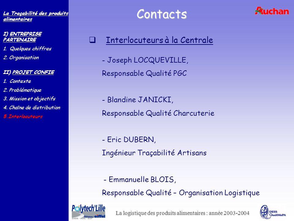 La logistique des produits alimentaires : année 2003-2004 Contacts - Joseph LOCQUEVILLE, Responsable Qualité PGC - Blandine JANICKI, Responsable Quali