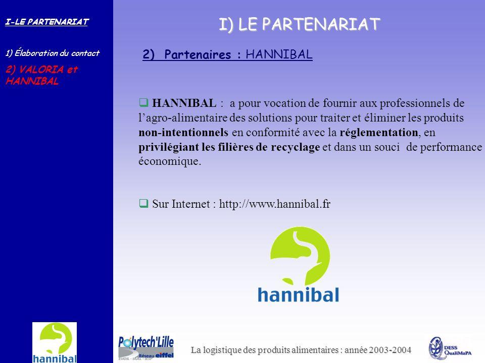 La logistique des produits alimentaires : année 2003-2004 I) LE PARTENARIAT HANNIBAL : a pour vocation de fournir aux professionnels de lagro-alimenta