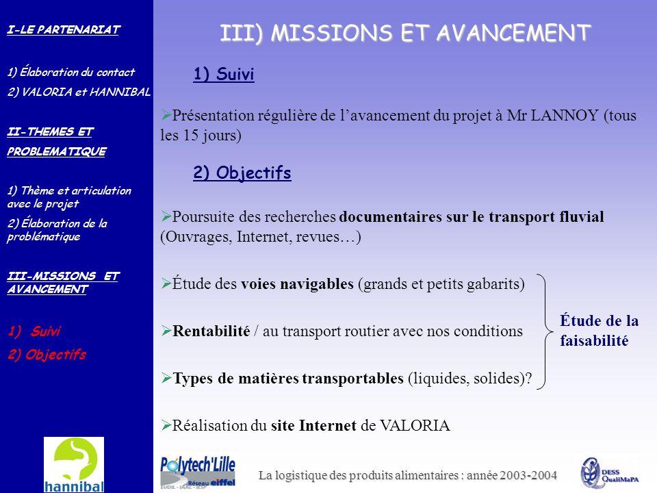 La logistique des produits alimentaires : année 2003-2004 III) MISSIONS ET AVANCEMENT 1) Suivi Poursuite des recherches documentaires sur le transport