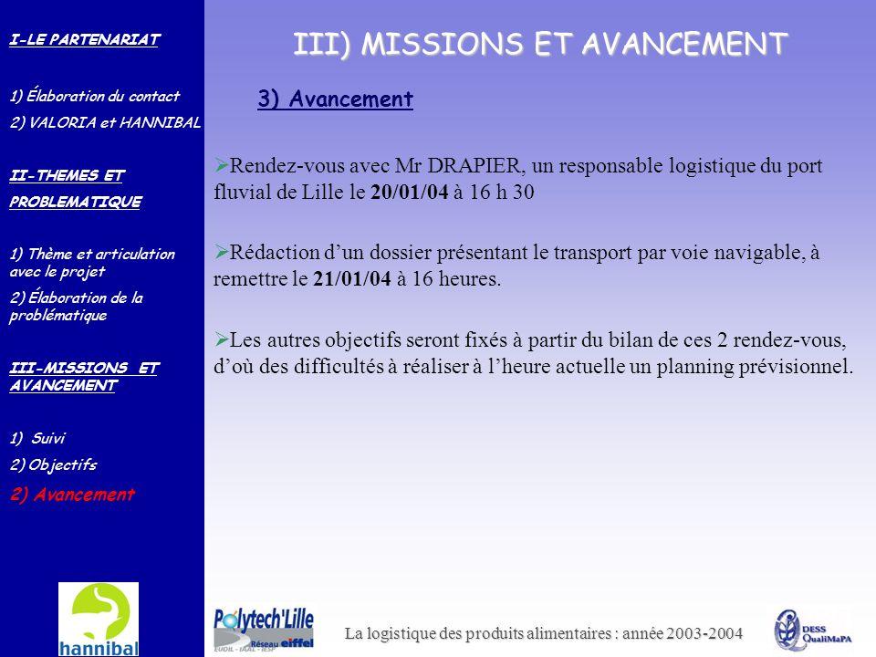 La logistique des produits alimentaires : année 2003-2004 III) MISSIONS ET AVANCEMENT 3) Avancement Rédaction dun dossier présentant le transport par