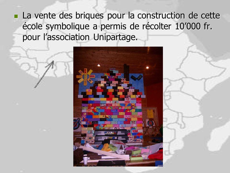 La vente des briques pour la construction de cette école symbolique a permis de récolter 10000 fr. pour lassociation Unipartage. La vente des briques