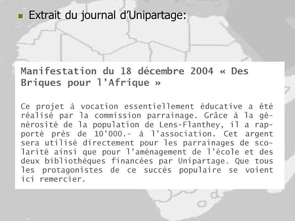 Extrait du journal dUnipartage: Extrait du journal dUnipartage: