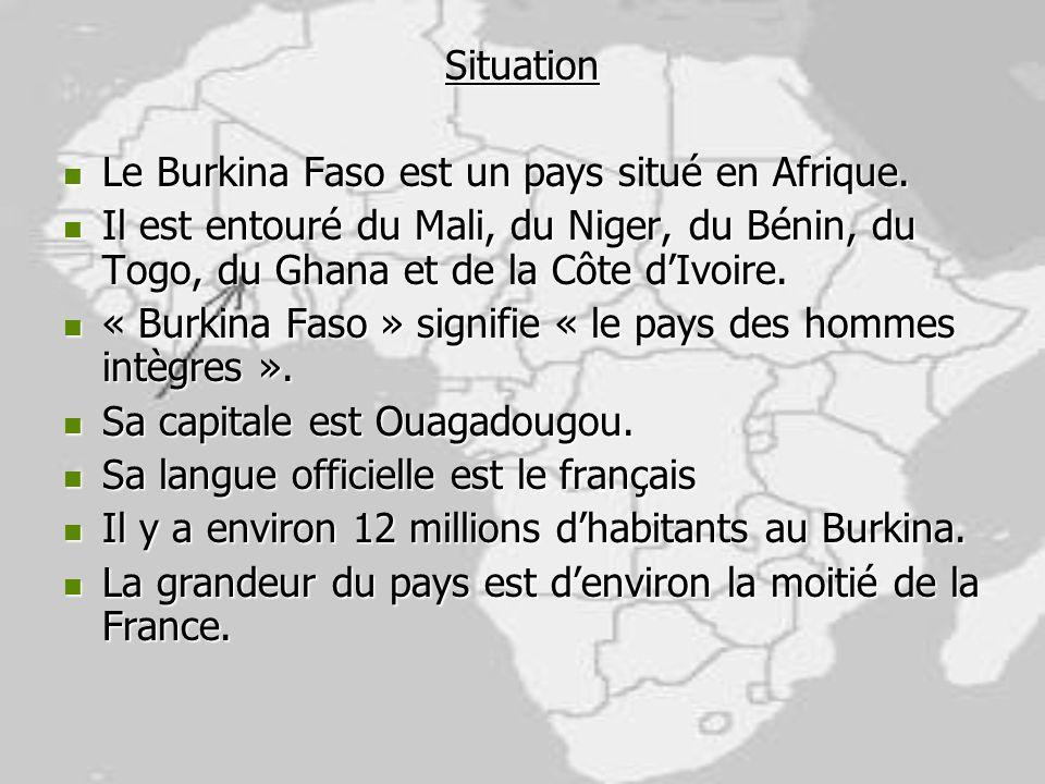 Situation Le Burkina Faso est un pays situé en Afrique. Le Burkina Faso est un pays situé en Afrique. Il est entouré du Mali, du Niger, du Bénin, du T