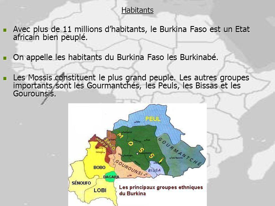 Habitants Avec plus de 11 millions dhabitants, le Burkina Faso est un Etat africain bien peuplé. Avec plus de 11 millions dhabitants, le Burkina Faso